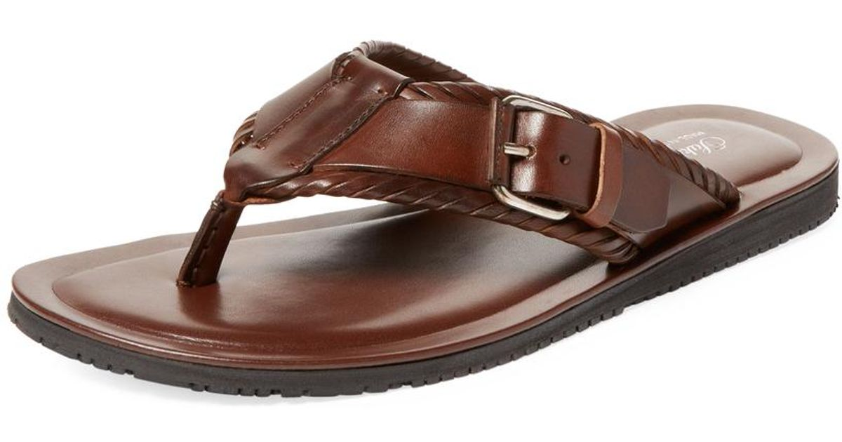 3c17d6859c2 Lyst - Saks Fifth Avenue Buckle Thong Sandals in Brown for Men