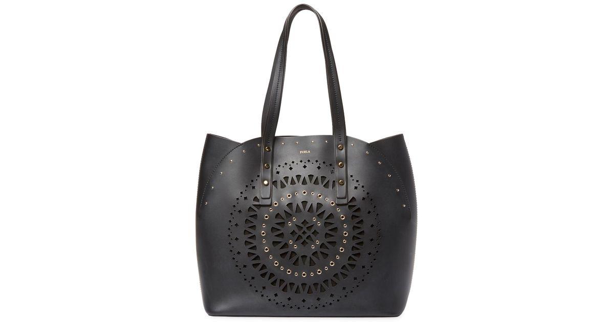 Lyst - Furla Aurora M Leather Tote Bag in Black b7f22f01cea41