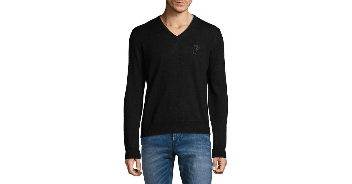 dda4f1e6eed Versace Blue Maglia Scollo Nero Knit Sweater for men