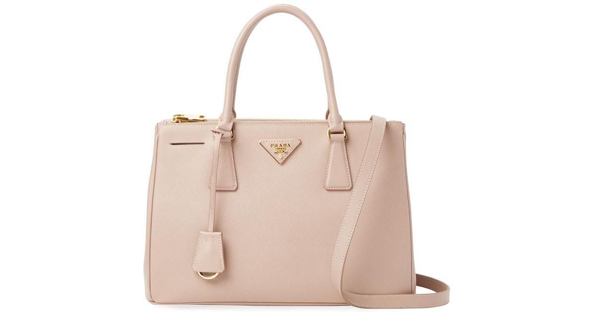 e44a6646fc42 Lyst - Prada Galleria Double Zip Small Saffiano Leather Tote
