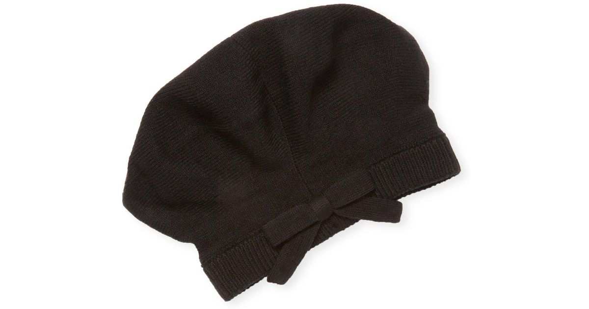Lyst - Kate Spade Bow-accented Knit Beret in Black 0a51d826cae