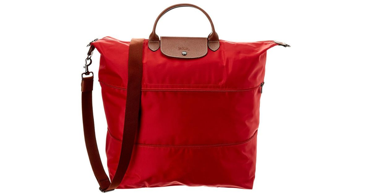 Lyst - Longchamp Le Pliage Nylon   Leather Travel Bag in Red f0fb53e5a4cca