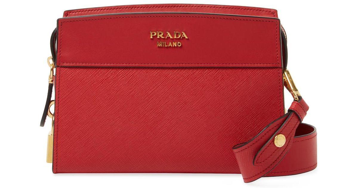 54220e53da38 Lyst - Prada Esplanade Small Saffiano Leather Crossbody in Red