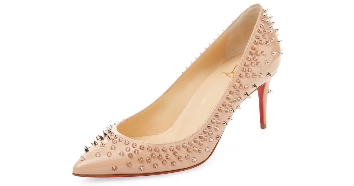new concept 8f98d 52809 Christian Louboutin Natural Escarpic Spiked Patent Leather Pump