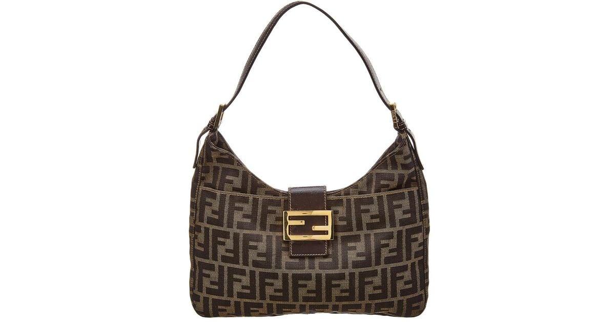 975b0a2113 Lyst - Fendi Brown Zucca Canvas Shoulder Bag in Brown