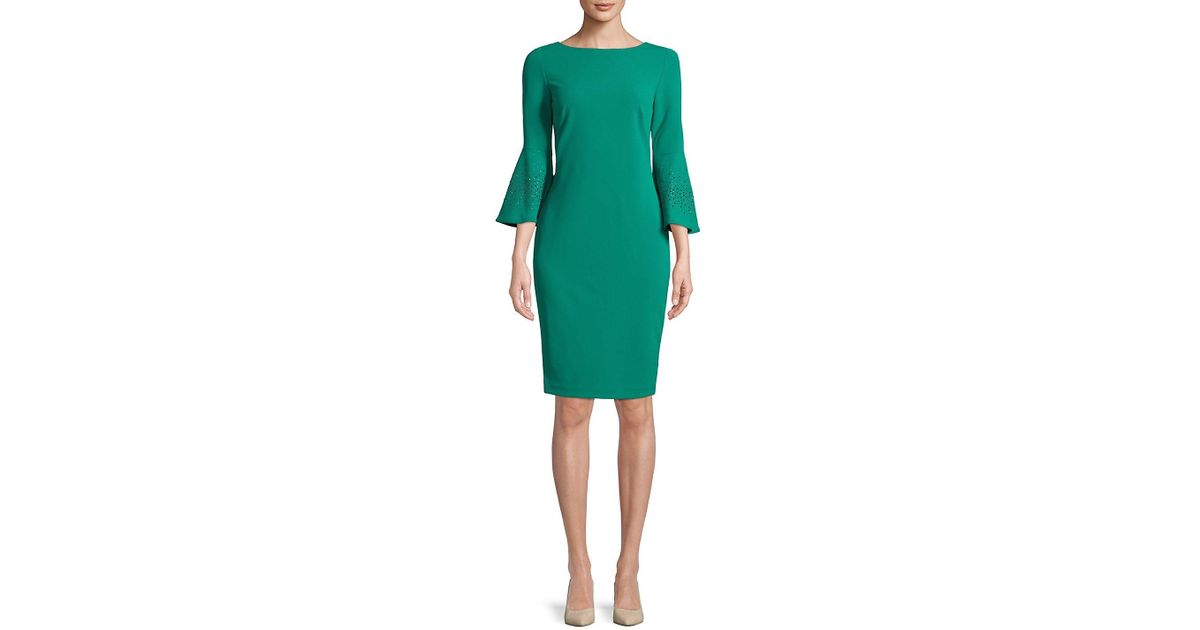 84951e23c63f Calvin Klein Three-quarter Bell Sleeve Dress in Green - Lyst