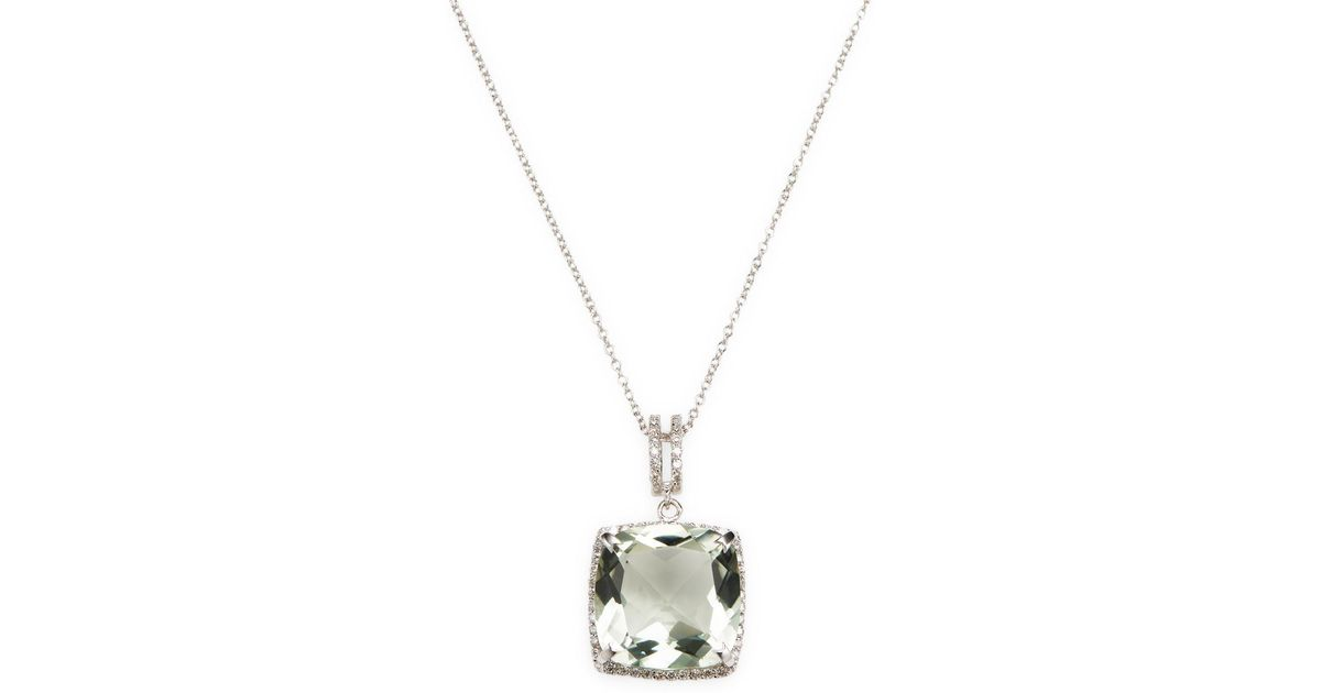 Lyst effy 14k white gold diamond green amethyst pendant necklace lyst effy 14k white gold diamond green amethyst pendant necklace in metallic aloadofball Image collections