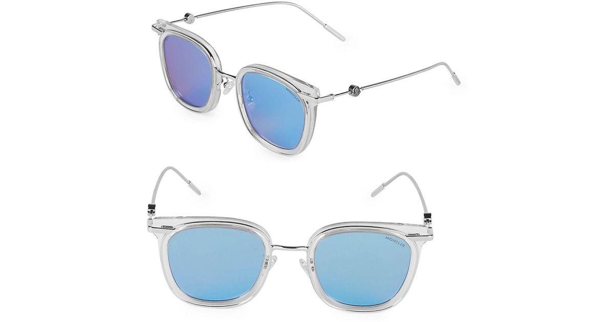 4813f9eb0e3 Lyst - Moncler 47mm Square Sunglasses in Blue