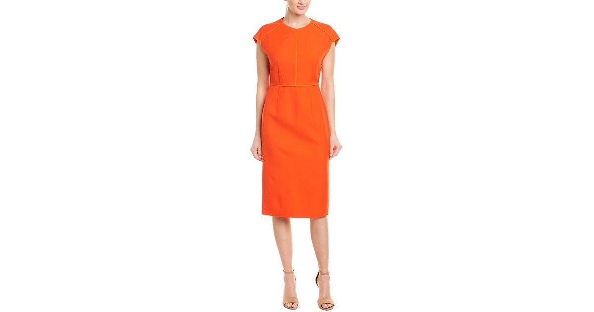 72c229ac544 Lyst - Narciso Rodriguez Narciso Rodriguez Silk-trim Wool Twill Sheath Dress  in Orange