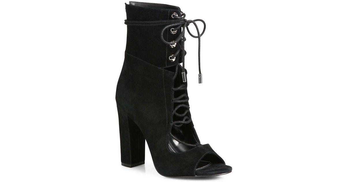 173eb67b45 Kendall + Kylie Ella Suede Lace-up Block-heel Booties in Black - Lyst