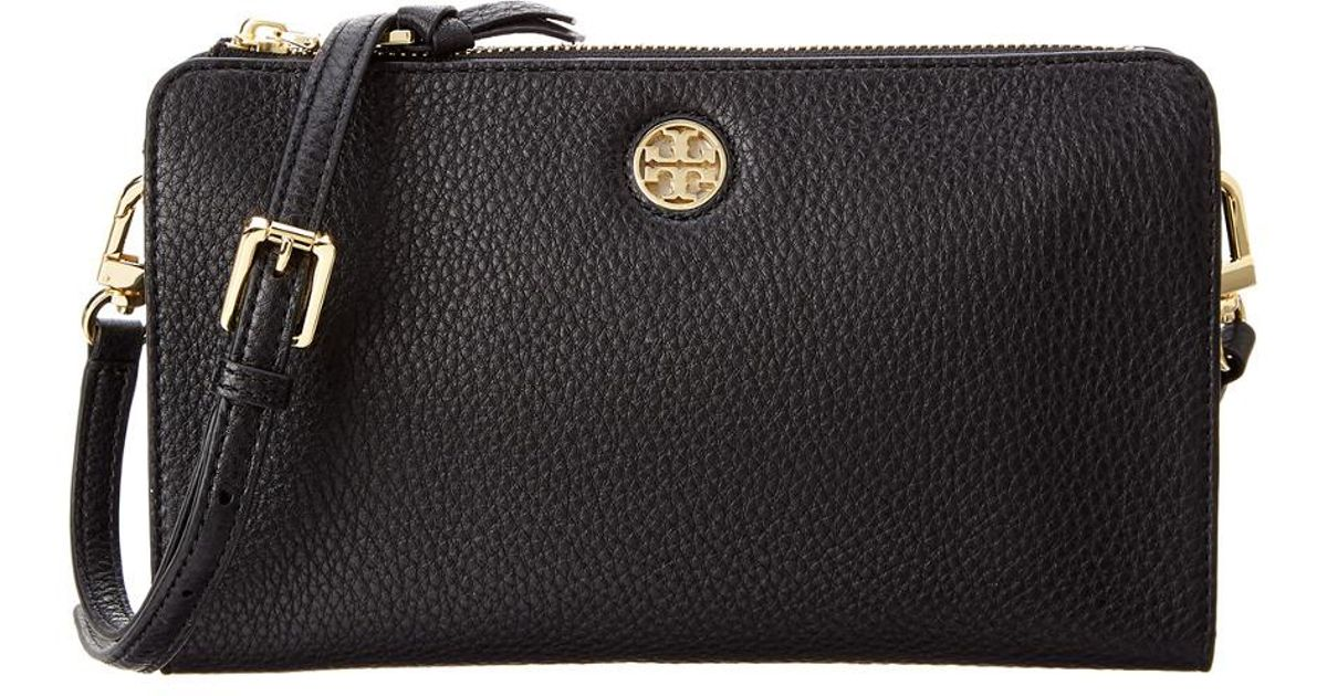 ce1ae389bd9f Lyst - Tory Burch Brody Pebbled Leather Wallet Crossbody in Black