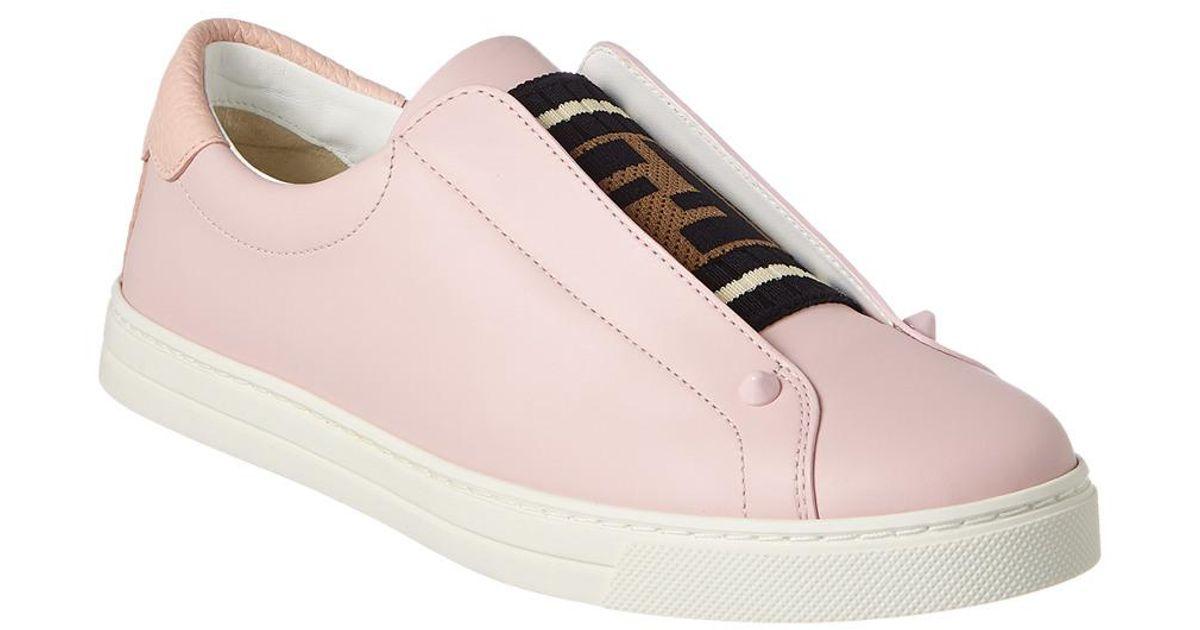 Fendi Slip-on Leather Sneaker in Pink