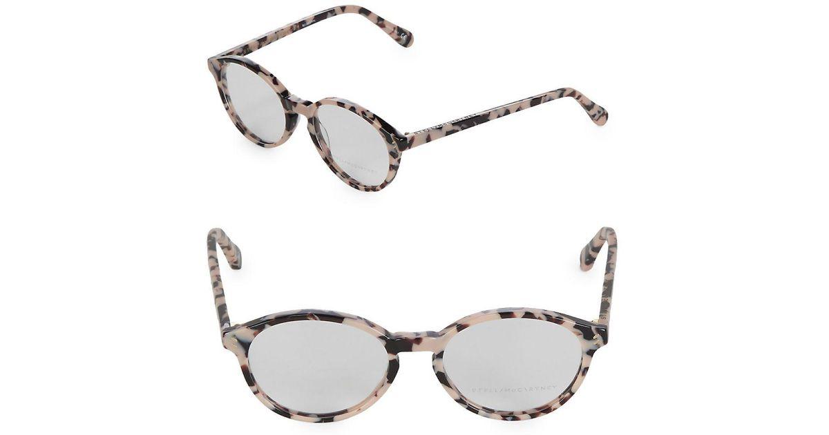 7de3e919b5 Lyst - Stella McCartney 51mm Tortoise Shell Round Optical Glasses