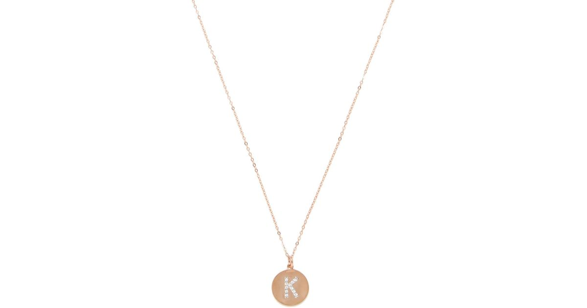 Lyst nephora 14k rose gold 010 total ct diamond initial k lyst nephora 14k rose gold 010 total ct diamond initial k disc pendant necklace in metallic aloadofball Image collections