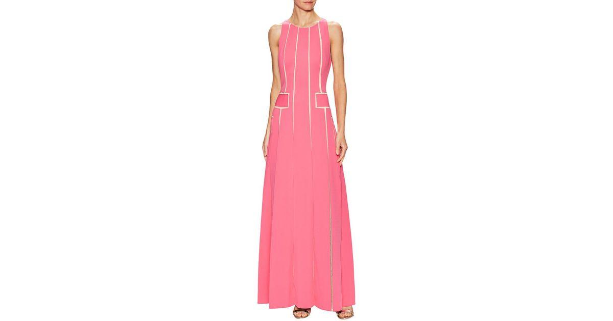 Lyst - Carolina Herrera Laser Cut Flared Gown in Pink