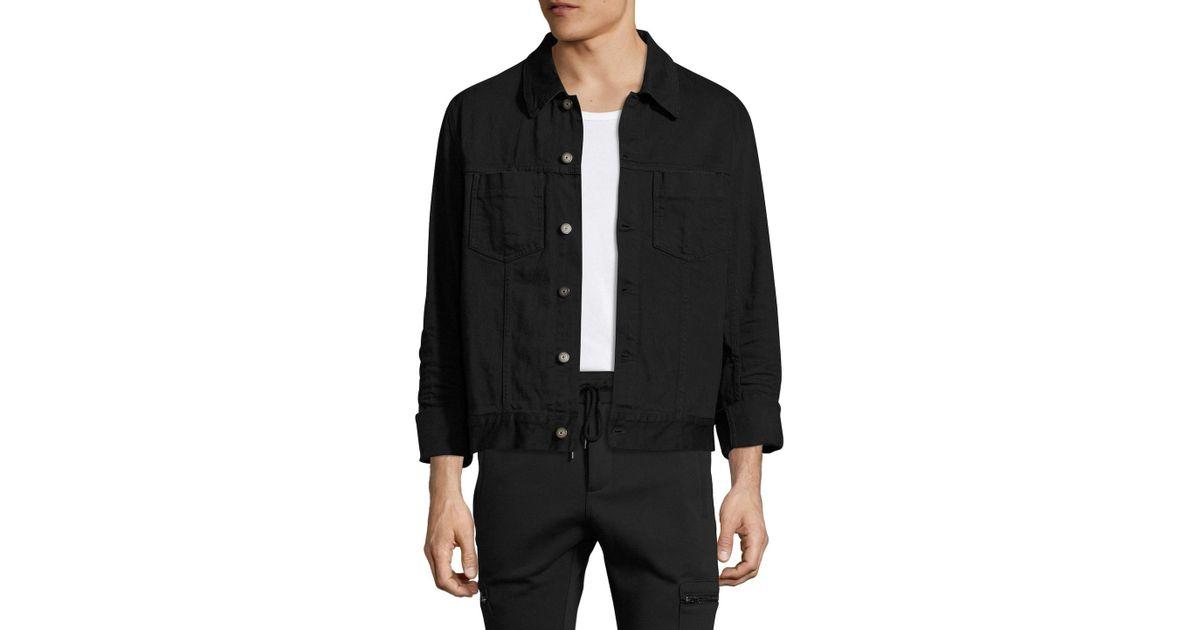 0c80c7093eaf Lyst - Maison Margiela Solid Spread Collar Denim Jacket in Black for Men