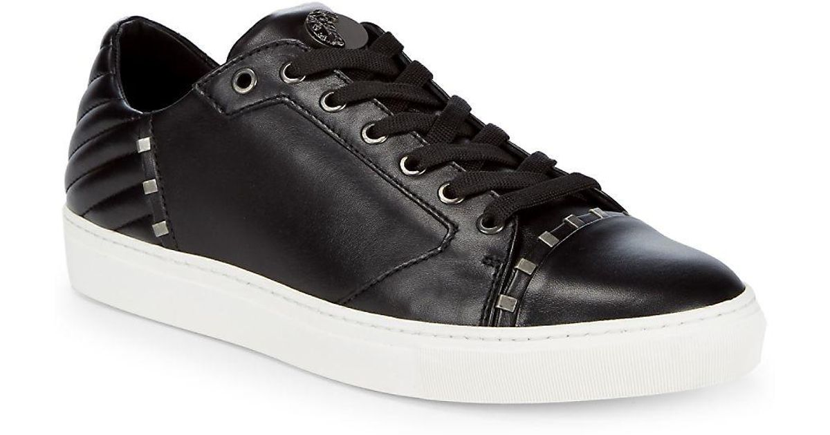 798236cfb82 Lyst - Versace Lace-up Leather Sneakers in Black