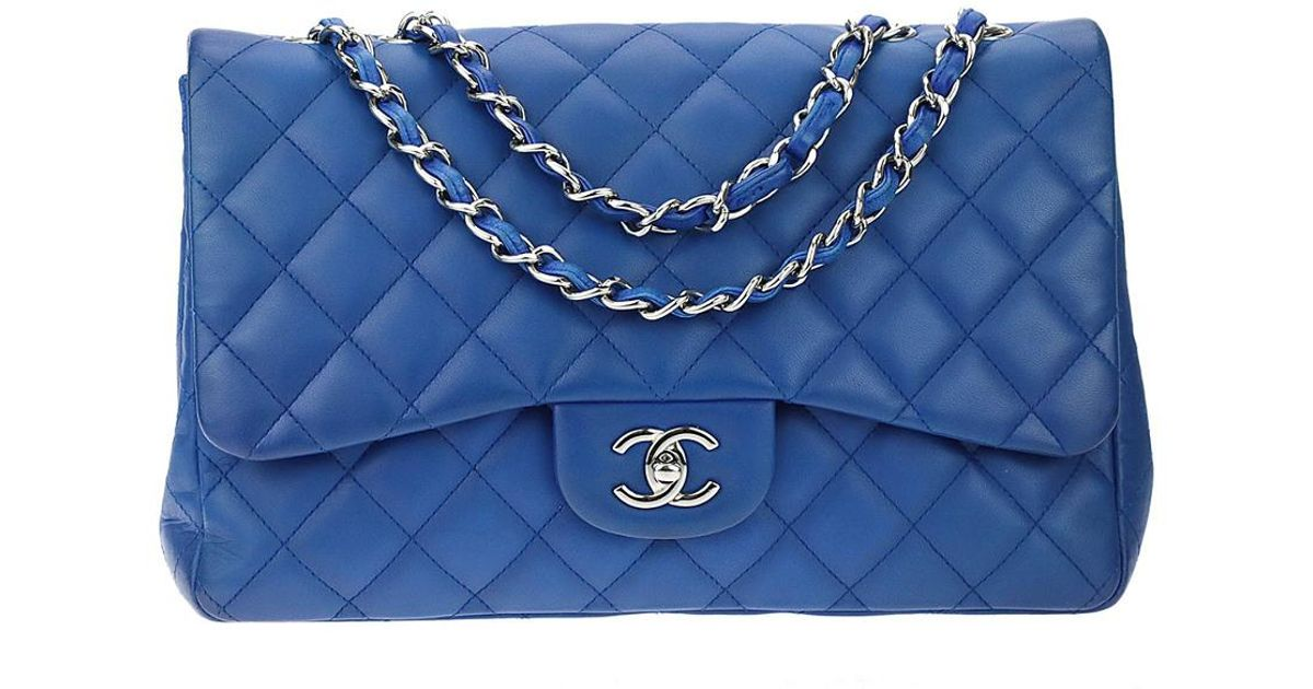 2d2b594e0c18 Chanel Cobalt Blue Quilted Lambskin Leather Jumbo Single Flap Bag in Blue -  Lyst