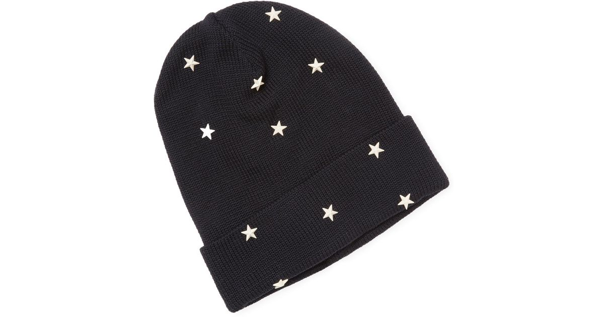 72e3d886bca Lyst - RED Valentino Ribbed Cotton Beanie in Blue