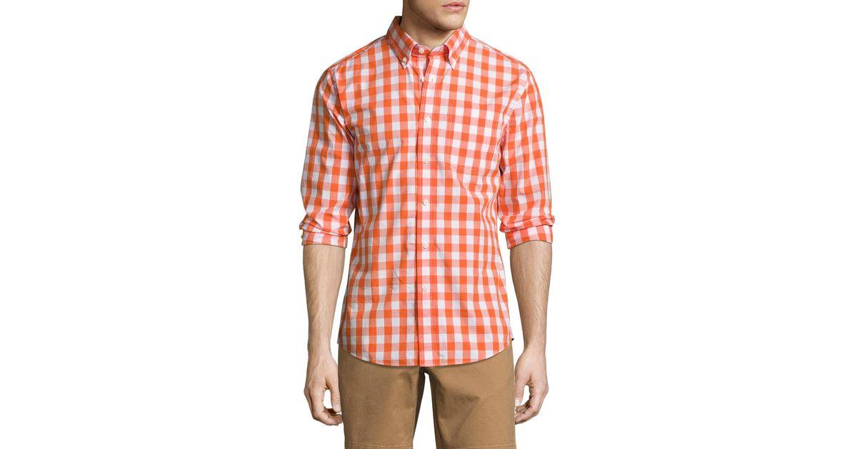 Jack Spade Mens Sheppard Trapunto Large Gingham Collar Shirt