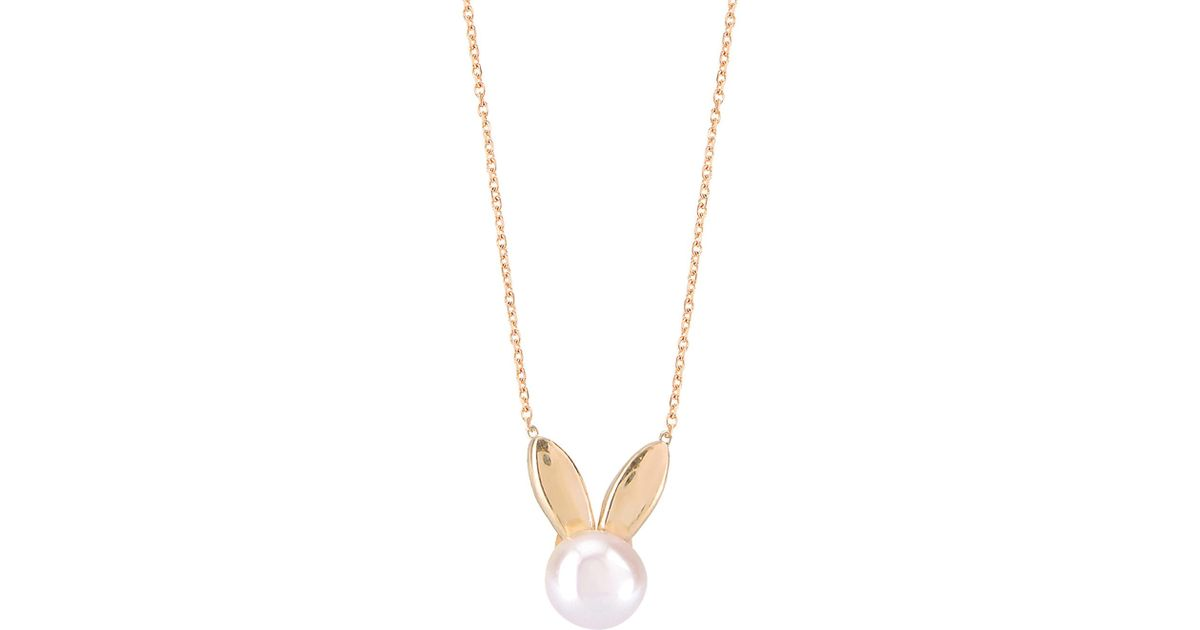 Lyst gabi rielle bunny pendant necklace in metallic aloadofball Images