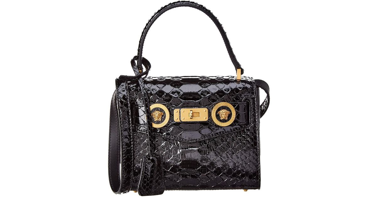 Lyst - Versace Small Python Icon Leather Satchel in Black 3a76e15304d0e