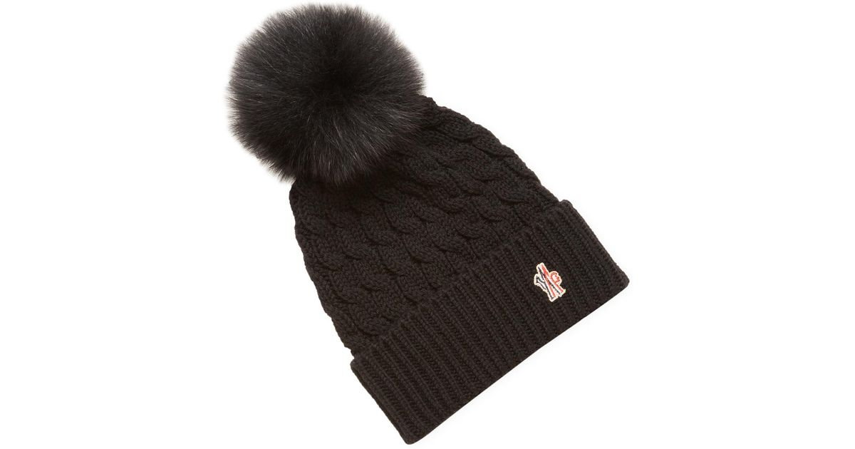 420acf1477a Lyst - Moncler Cable Knit Wool Pom Beanie in Black