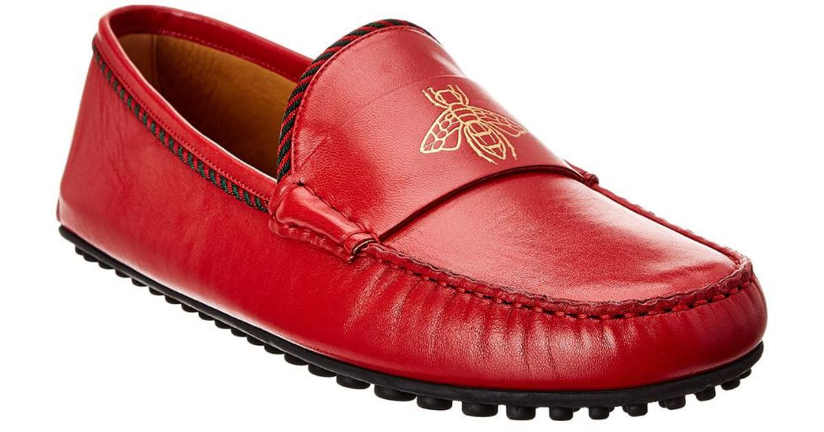 Gucci Bee Leather Driver in Red for Men