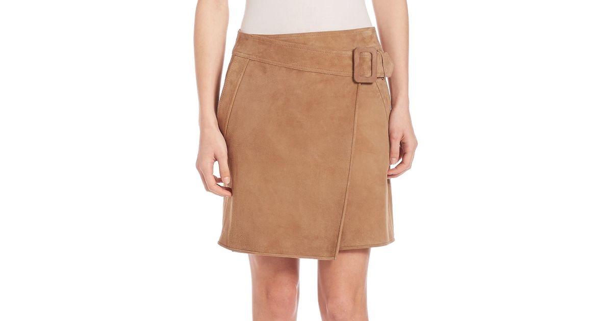 3dbdefe176 Lyst - Vince Suede Asymmetrical Belted Skirt