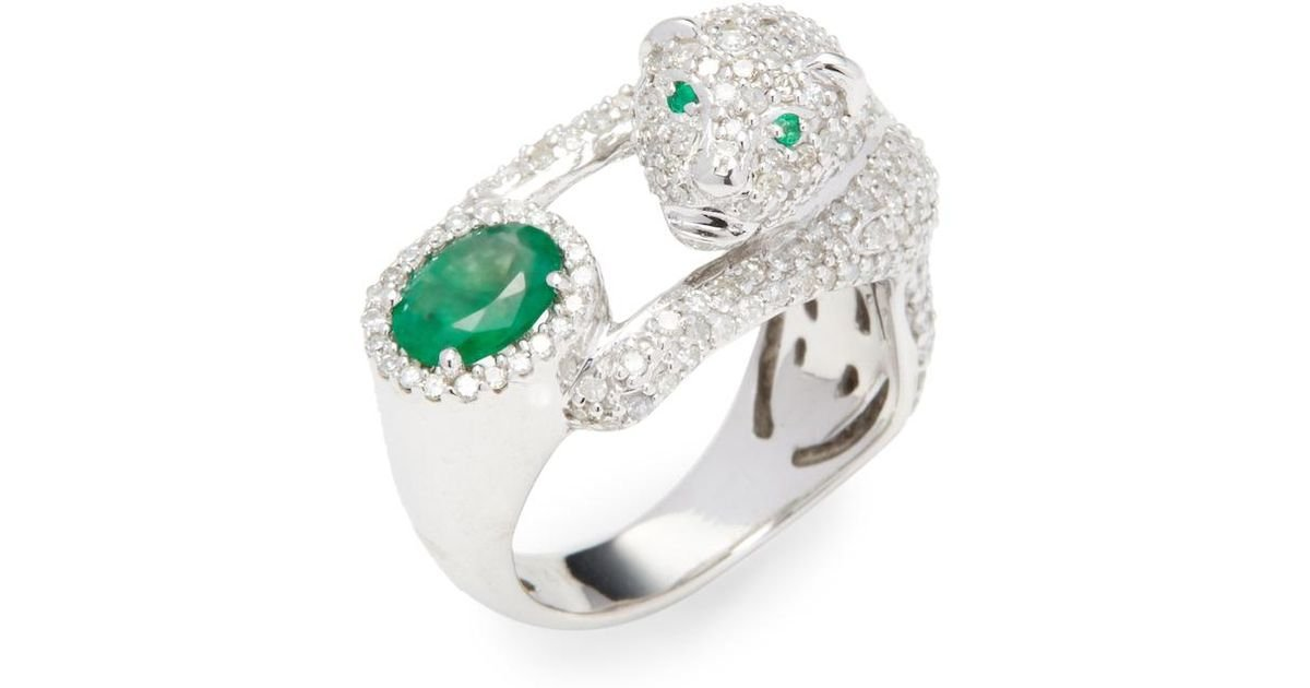 6830acab4cada Effy Green 14k White Gold Diamond And Emerald Panther Ring