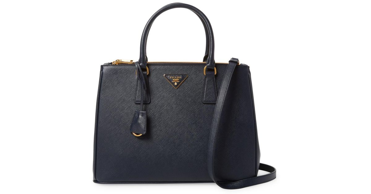 9974c09549 ... sale lyst prada galleria double zip medium saffiano leather tote in  black b801c ae274