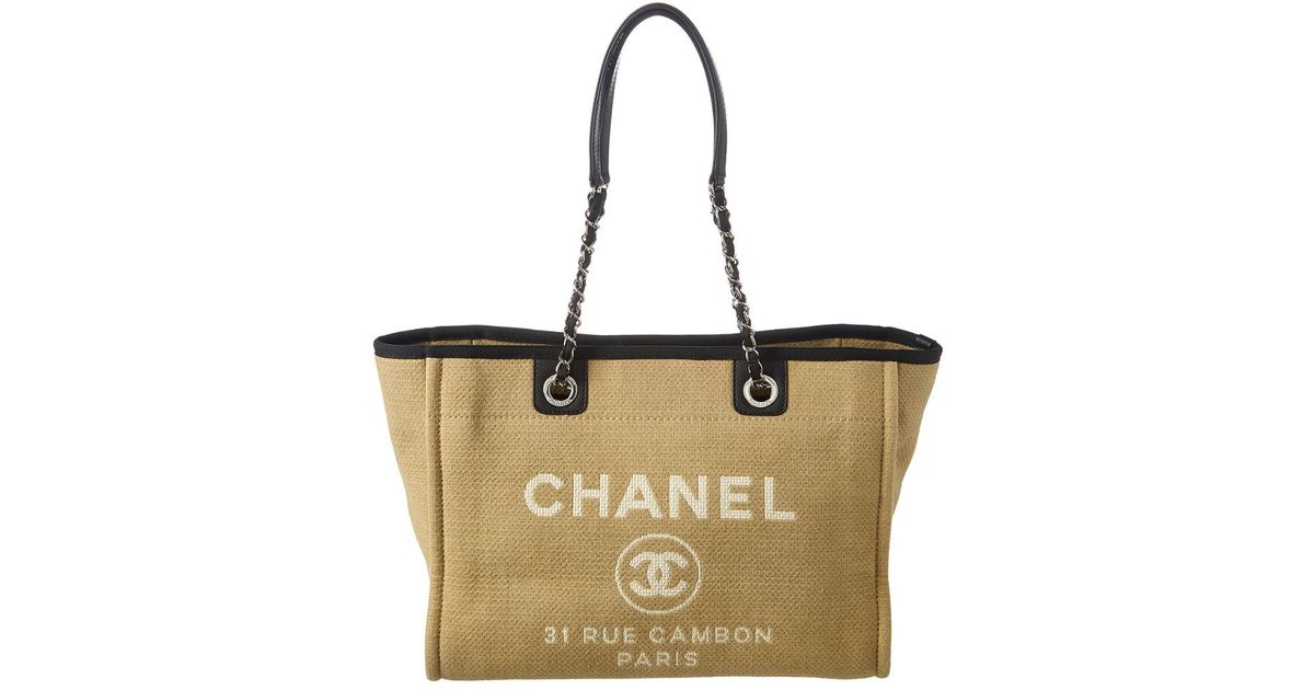 4ffcf17a793d0e Chanel Beige Canvas Large Deauville Tote in Natural - Lyst