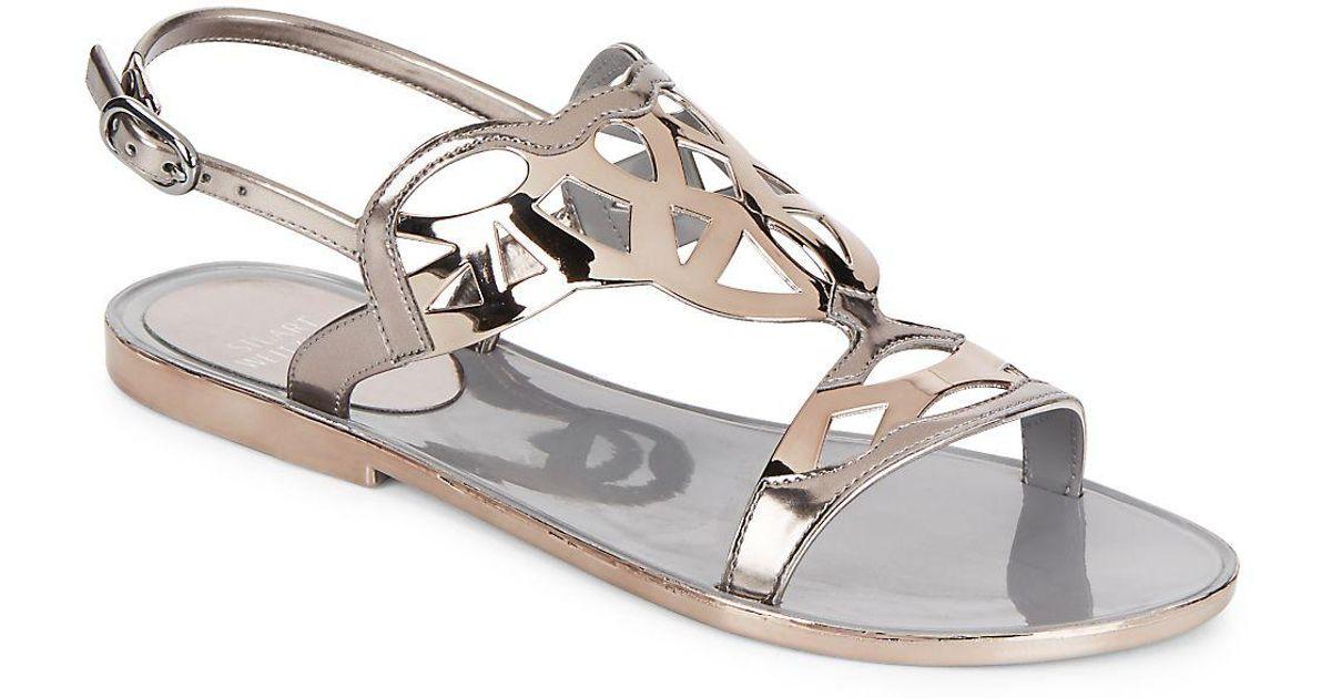d9b9b8004aa4 Stuart Weitzman Gelfisher Jelly Sandals in Metallic - Lyst
