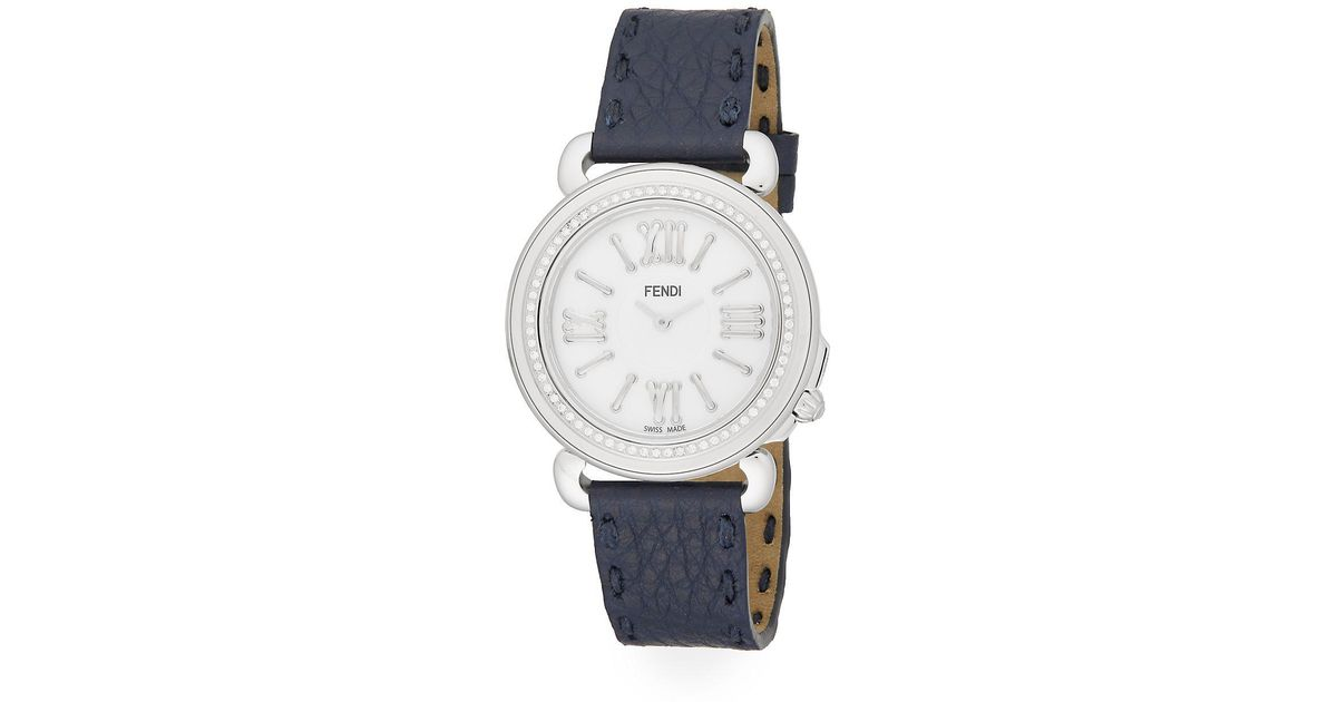 f869b151 Fendi Metallic Selleria Diamond, Mother-of-pearl, Stainless Steel & Leather  Strap Watch
