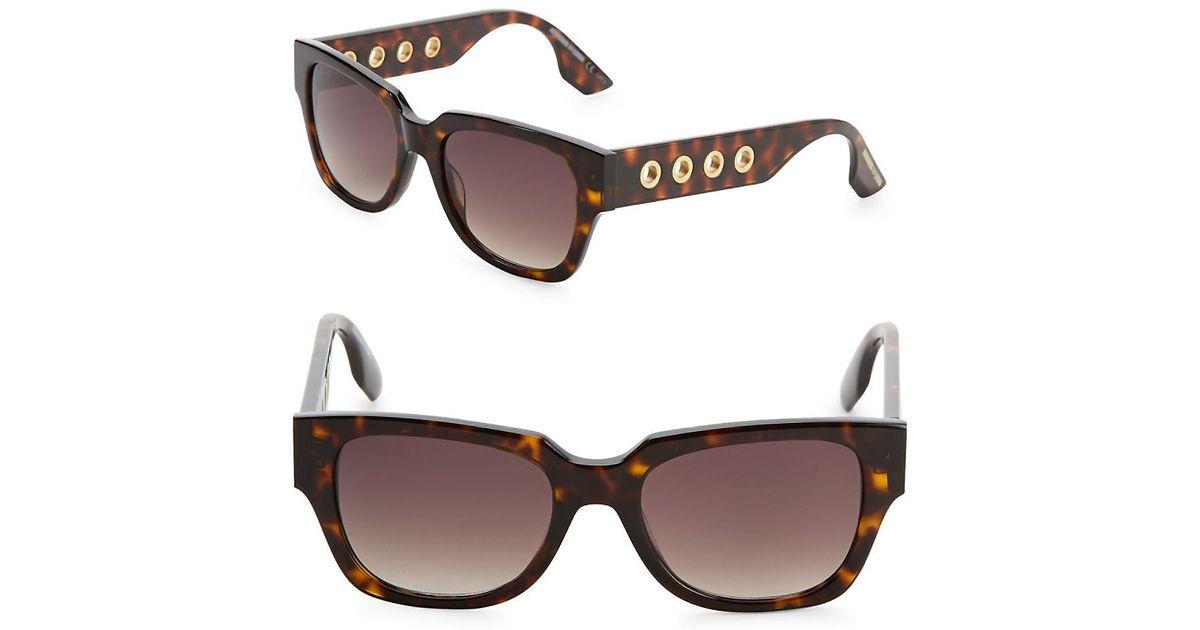 0bf402eb0b Lyst - Mcq Alexander Mcqueen 51mm Square Tortoiseshell Sunglasses in Brown