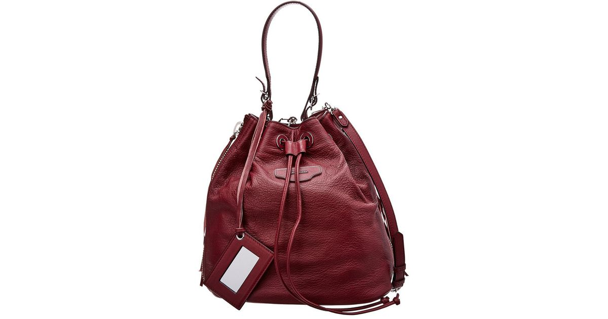 Lyst - Balenciaga Papier Plate Leather Bucket Bag in Red 3ec5443b45e5d