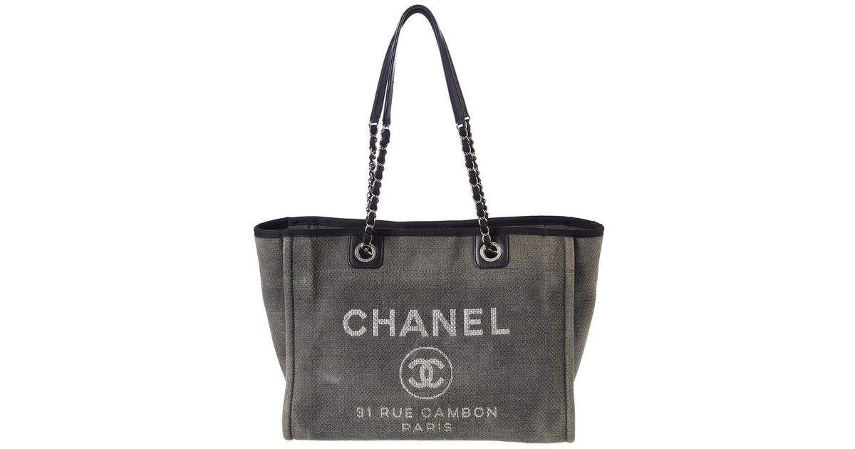51962e2c Chanel Gray Grey Canvas Large Deauville Tote
