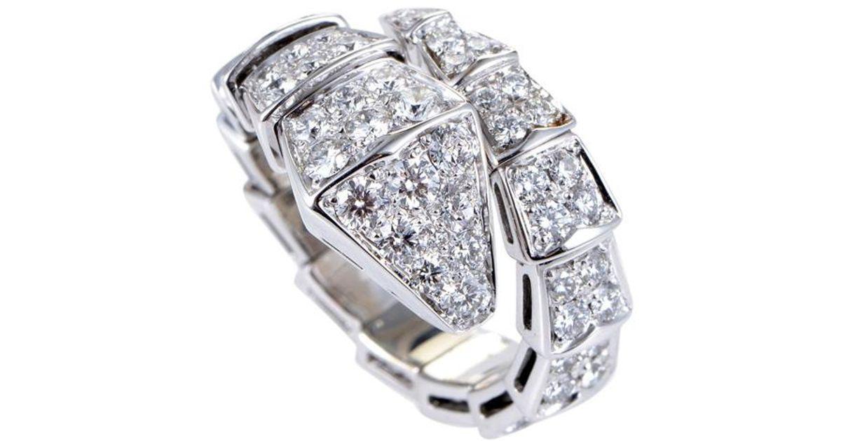 7e85c5a3d4e3f BVLGARI Metallic Serpenti Full Diamond Pave Snake Ring