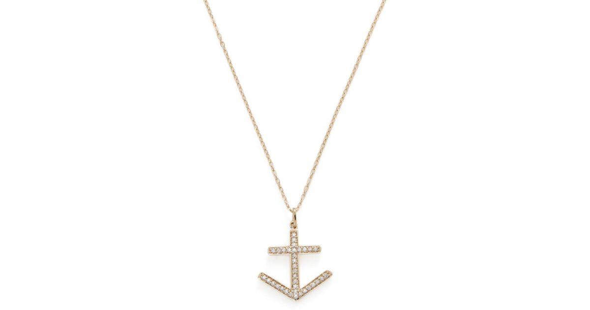 Lyst nephora 14k yellow gold pave diamond anchor pendant lyst nephora 14k yellow gold pave diamond anchor pendant necklace in metallic aloadofball Gallery