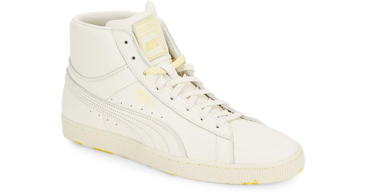 2a016d52c9ea PUMA Basket Leather High-top Sneakers in White - Lyst