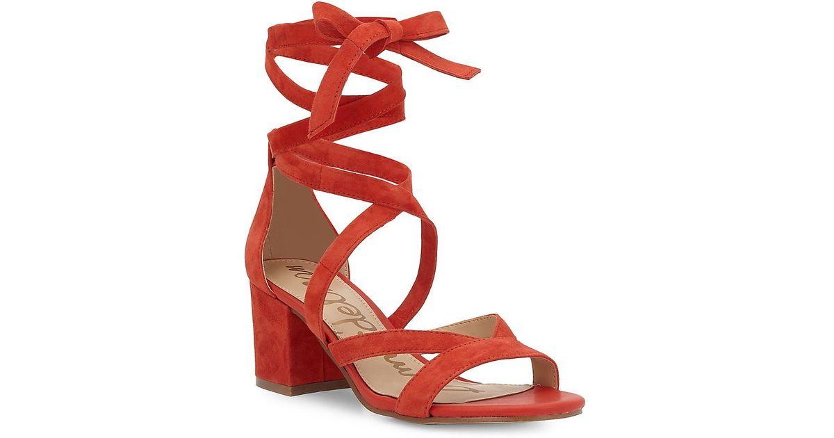 33aa5a5c2de6bb Lyst - Sam Edelman Sheri Suede Block Heel Sandals in Red