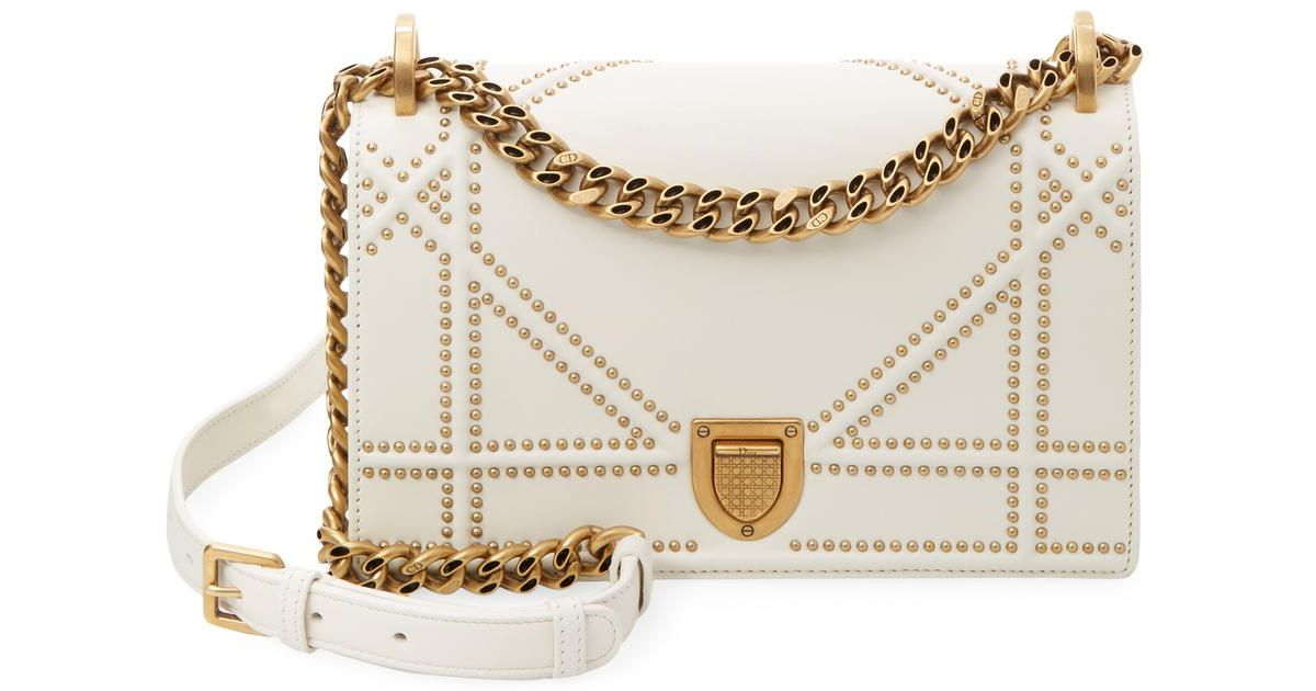 Dior White Studded Crossbody Bag