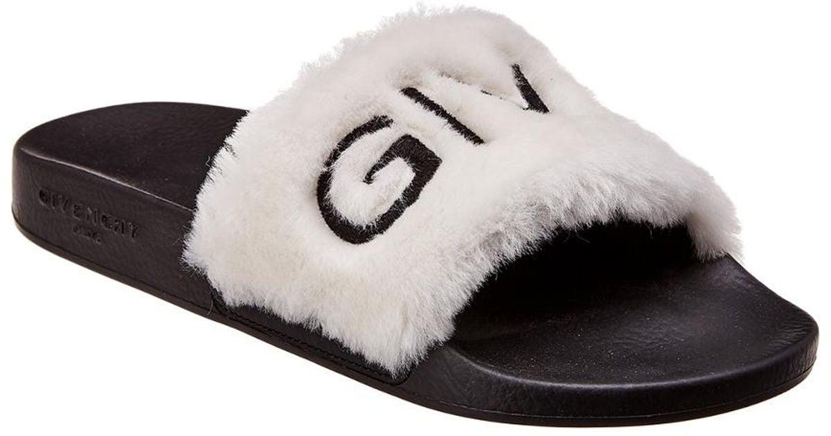 Givenchy Leather Fur Logo Slide in