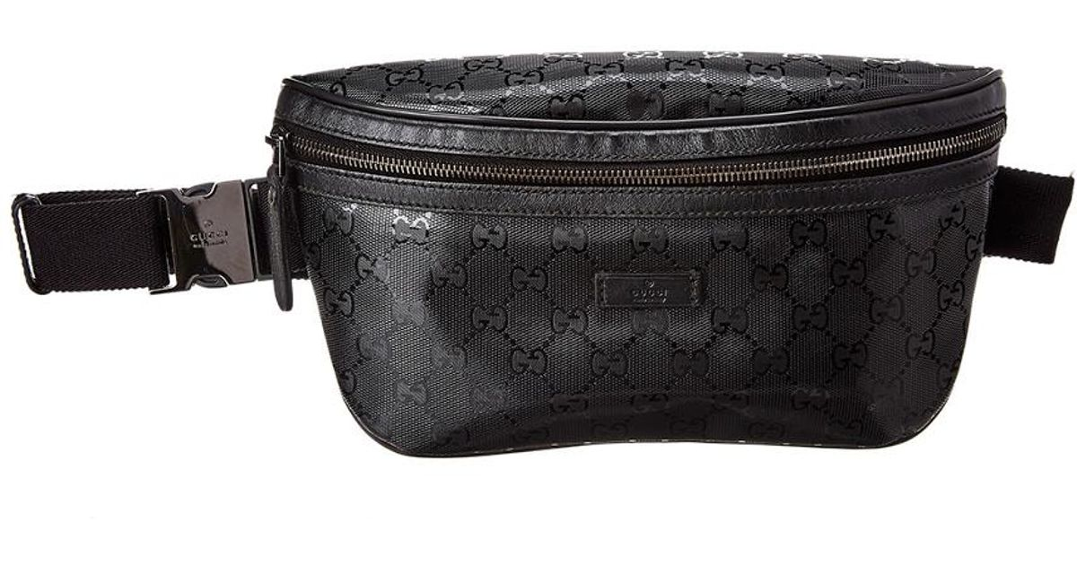 7edc3bdcdcd742 Gucci Black GG Imprime Leather Waist Pouch in Black - Lyst