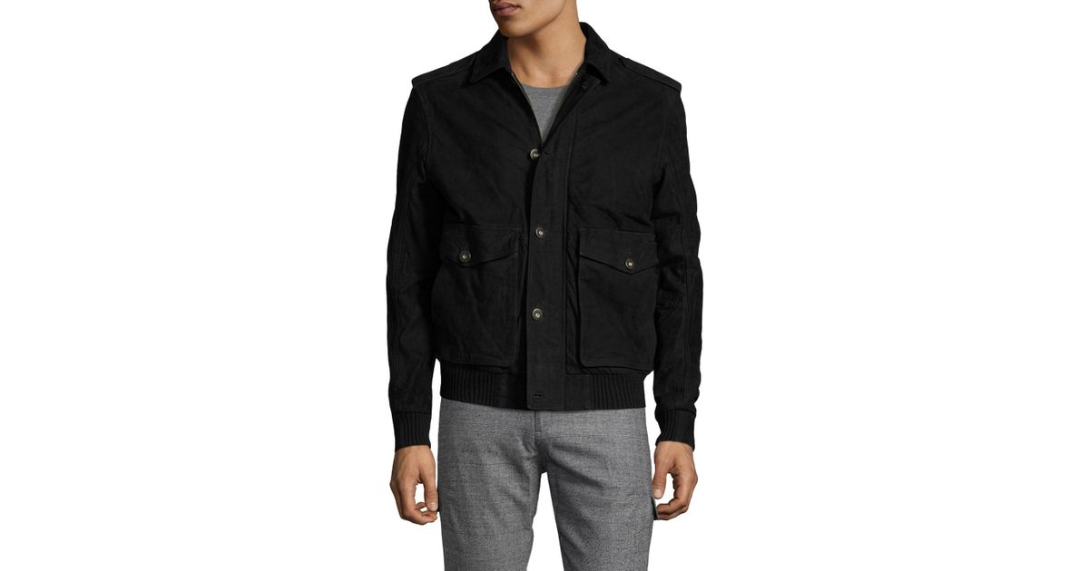 7805f5b517 Timberland Leather Spread Collar Jacket in Black for Men - Lyst