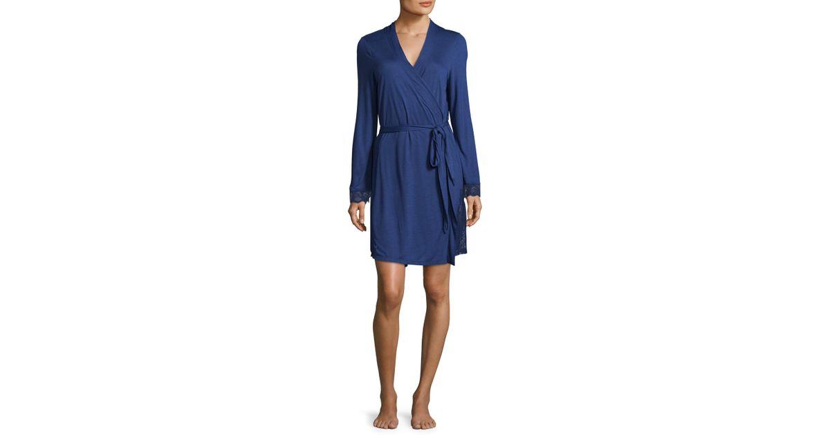 Lyst - Eberjey Goya Lace Robe in Blue 8b7220a81
