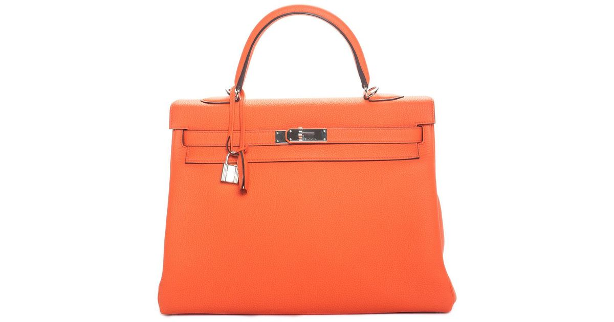 9e27a2a8d5 Lyst - Hermès Orange Leather Kelly Ii Retourne 35cm Phw
