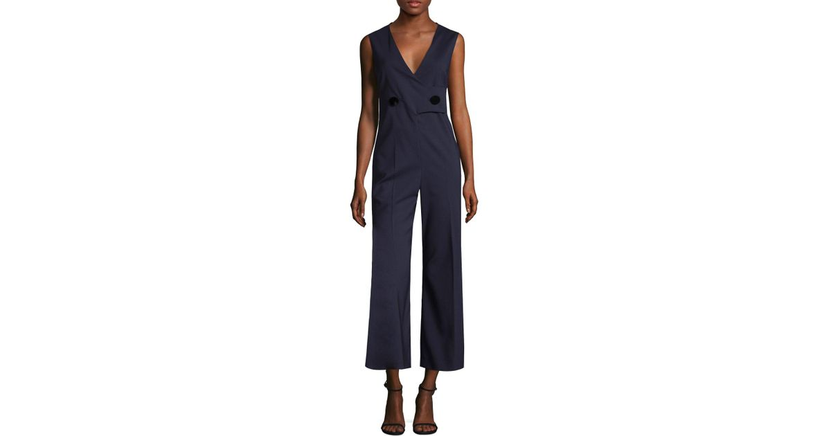 29ac40840f8 Lyst - Max Mara Uvina Wrapped Jumpsuit in Blue
