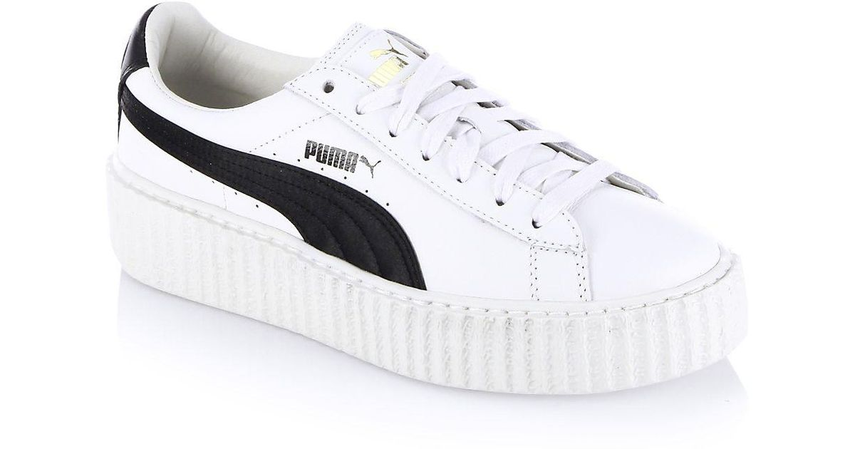 info for 4ef04 7ceca PUMA White Fenty X Rihanna Leather Creeper Platform Sneakers