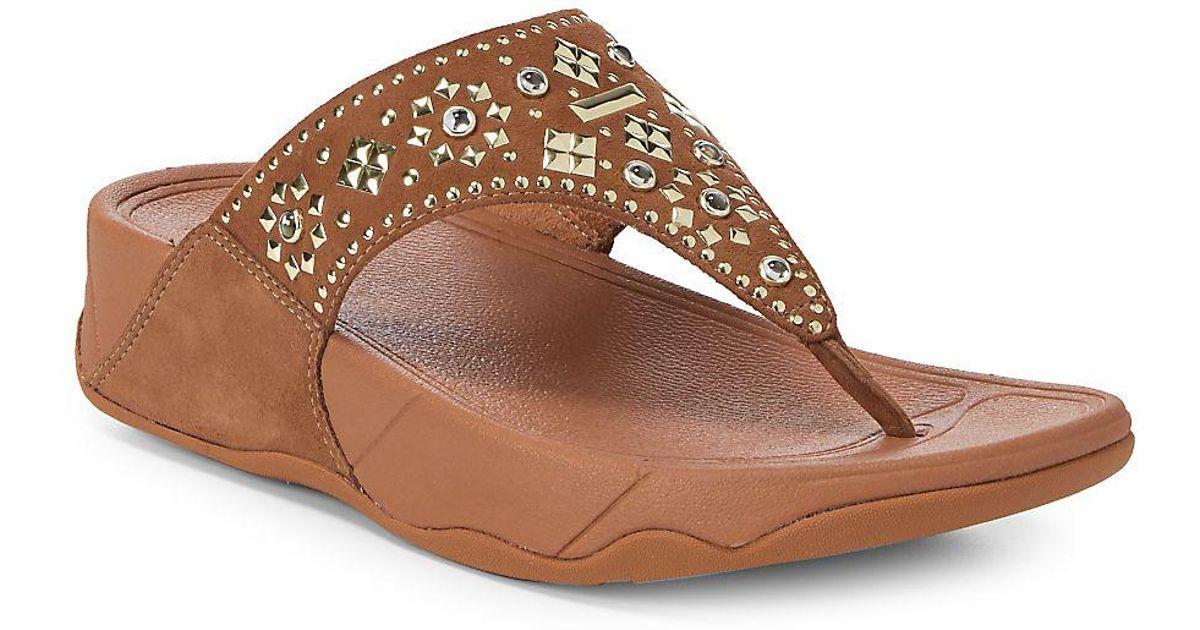 787f00921f785 Lyst - Fitflop Lulu Aztek Stud Leather Flip Flops in Brown